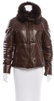 Ralph Lauren Fox-Trimmed Leather Jacket