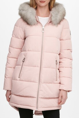 DKNY Zip Front Puffer with Faux Fur Trim Hood