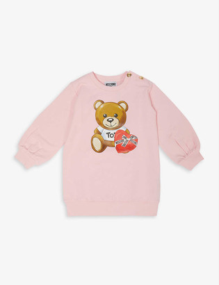 Moschino Chocolate Teddy Bear-print stretch-cotton-jersey dress 3-36 months