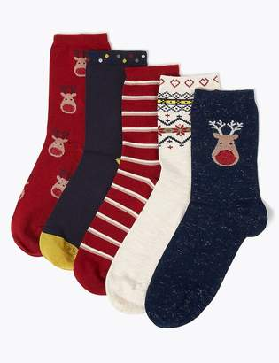 M&S CollectionMarks and Spencer 5 Pair Pack Sumptuously Soft Ankle Socks