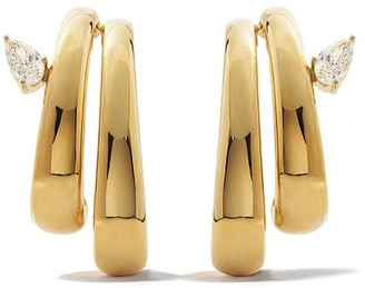 As 29 18k yellow gold Bombee pear diamond double branches earrings