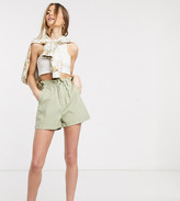 Asos DESIGN Tall casual short with paperbag waist in stone