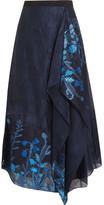 Roland Mouret Upton Asymmetric Fil Coupé Organza Midi Skirt - Blue