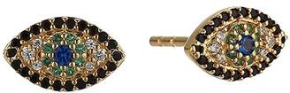 Michael Kors Sterling Silver Evil Eye Stud Earrings (14K Gold Plating) Earring