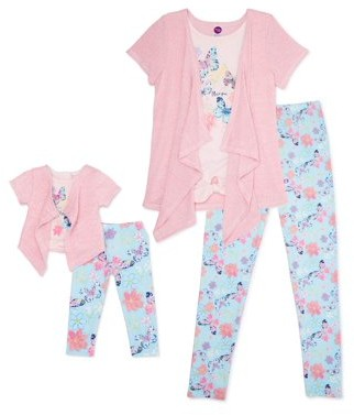 """Dollie & Me Girls Knit Cardigan, Butterfly Screen Tee and Printed Legging, 3-Piece Outfit Set With Matching 18"""" Doll Set, Sizes 4-12"""
