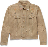 KAPITAL - Cropped Distressed Painted Denim Jacket