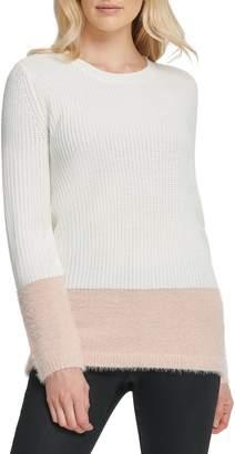 DKNY Faux Fur Hem Sweater