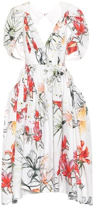 Alexander McQueen Floral cotton midi dress