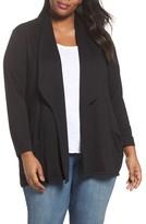 Sejour Plus Size Women's Drape Front Cardigan
