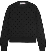 Comme des Garcons Flocked Wool-jersey Sweater - Black