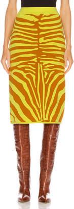 Marques Almeida Marques ' Almeida Jacquard Knit Tube Skirt in Zebra Lime & Brown | FWRD