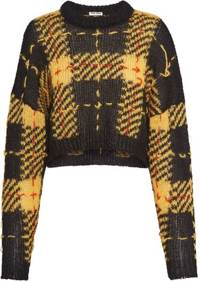 Miu Miu Plaid Cropped Jumper