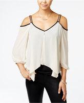 Amy Byer Juniors' Embellished Cold-Shoulder Blouse