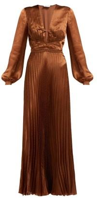 Raquel Diniz Olivia Polka-dot Silk-satin Dress - Womens - Brown White