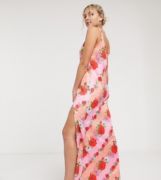Twisted Wunder maxi cami dress in stripe floral print