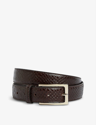 Reiss Exotic croc-embossed leather belt