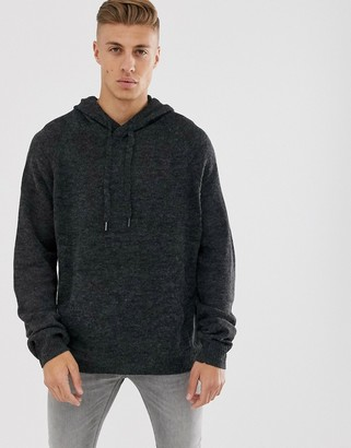Cotton On knitted hoodie in back marl