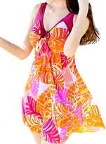 Sun Women's Vintage Swimdress Flower Printed Swimsuits Plus Size one-piece swimwear (XXXXL, )