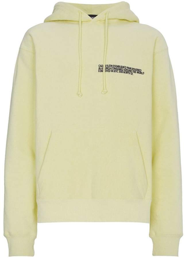 Calvin Klein text embroidered cotton hoodie