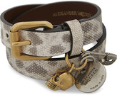 Alexander McQueen Jewelled skull and safety pin double-wrap leather bracelet
