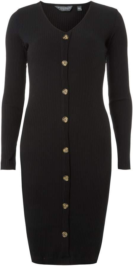 Dorothy Perkins Womens **Tall Black Rib Button Bodycon Dress
