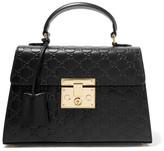 Gucci Padlock Embossed Leather Tote - Black