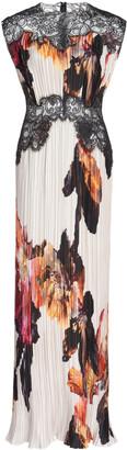 Costarellos Marion Lace-Detailed Floral Plisse Satin Maxi Dress