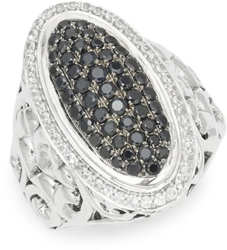 Charles Krypell Sterling Ivy Sterling Silver, Black Sapphire White Sapphire Ring