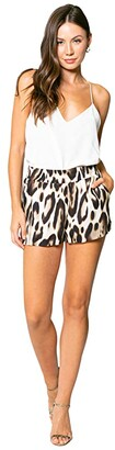 Lavender Brown Cheetah Printed Pull-On Shorts (Taupe/Brown) Women's Shorts