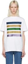 Palm Angels White Glitter Five Stripes T-shirt