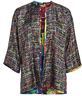 Etro Women's Reversible Tweed & Japanese Floral Silk Cape