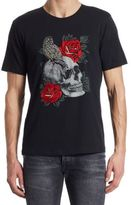 The Kooples Skull and Embroidered Rose T-Shirt