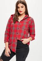 Missguided Curve Red Checkered Shirt, Red