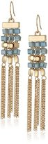 "Kenneth Cole New York Blue Mood"" Woven Faceted Bead Fringe Chandelier Drop Earrings"