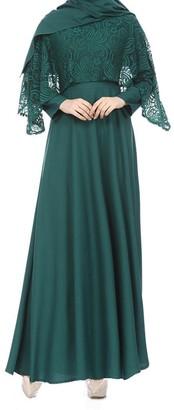 Kanpola Women Muslim Kaftan Abaya Jilbab Long Sleeve Lace Long Maxi Dress (UK 12