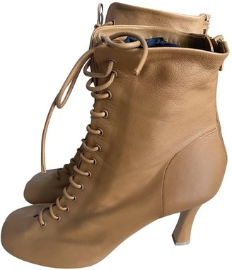 Celine Camel Leather Ankle boots
