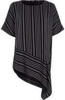 River Island Womens Navy stripe print asymmetric hem T-shirt