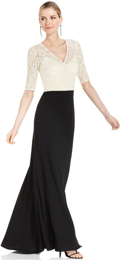 JS Collections Dress, Elbow-Sleeve Sequined-Lace Gown