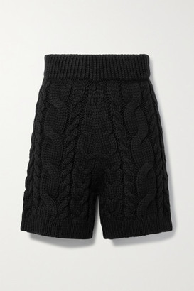 Mr. Mittens Cable-knit Wool Shorts - Black