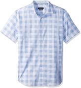 Bugatchi Mens Tailored Fit Spiraling Pattern Short Sleeve Shirt