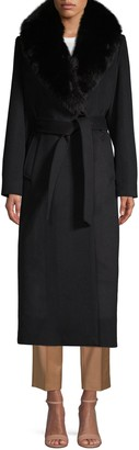 Sofia Cashmere Fox Fur-Trim Tie-Waist Long Coat