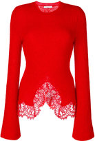 Givenchy lace trim knitted jumper - women - Cotton/Polyamide/Viscose/Wool - S