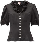 Shrimps Levi Faux-pearl Embellished Silk-satin Blouse - Womens - Black