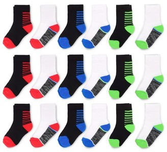 Fruit of the Loom Baby and Toddler Boys Crew Socks, 18-Pack