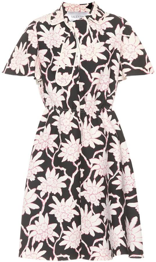 Valentino Floral-printed crApe dress