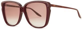 Gucci Burgundy embellished oversized sunglasses