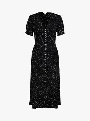 Monsoon Oliver Spot Print Dress, Black