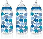NUK 62736 Hearts,Butterfly Or Elephants Baby Bottle with Perfect Fit Nipple, 10 Ounces, 3 Pack, Assorted Colors