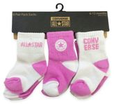 Converse All-Star Size 3T-4T 6-Pack Logo Socks in Pink/White