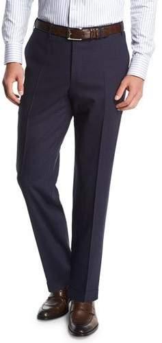 Canali Melange Stretch-Wool Flat-Front Pants, Navy